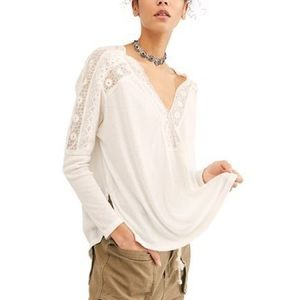 FREE PEOPLE Lola Long-Sleeve T-Shirt White Size M